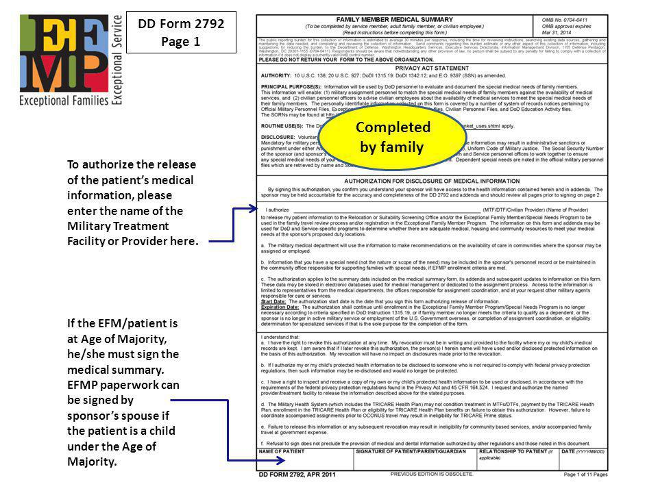 Completed by family DD Form 2792 Page 1