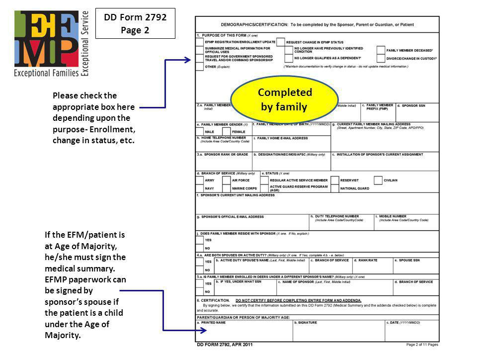 Completed by family DD Form 2792 Page 2