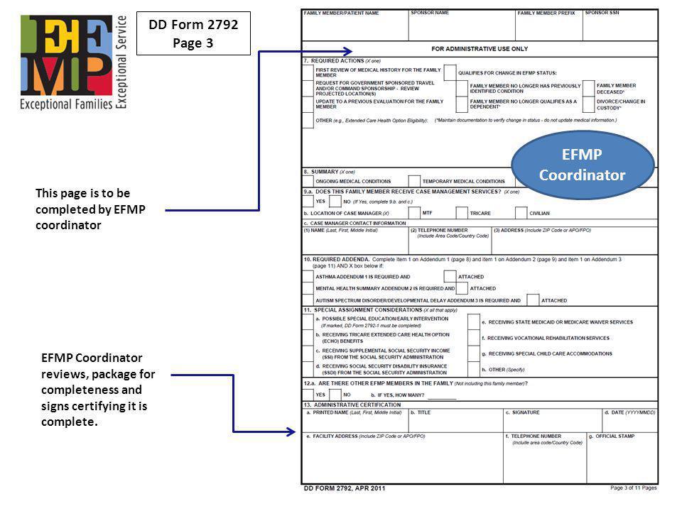 EFMP Coordinator DD Form 2792 Page 3