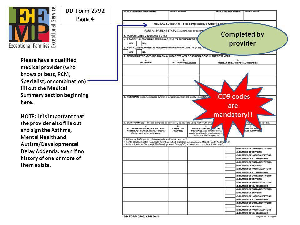 ICD9 codes are mandatory!!