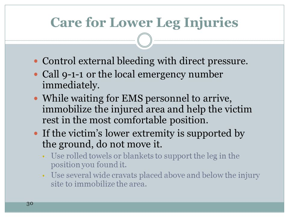 Care for Lower Leg Injuries