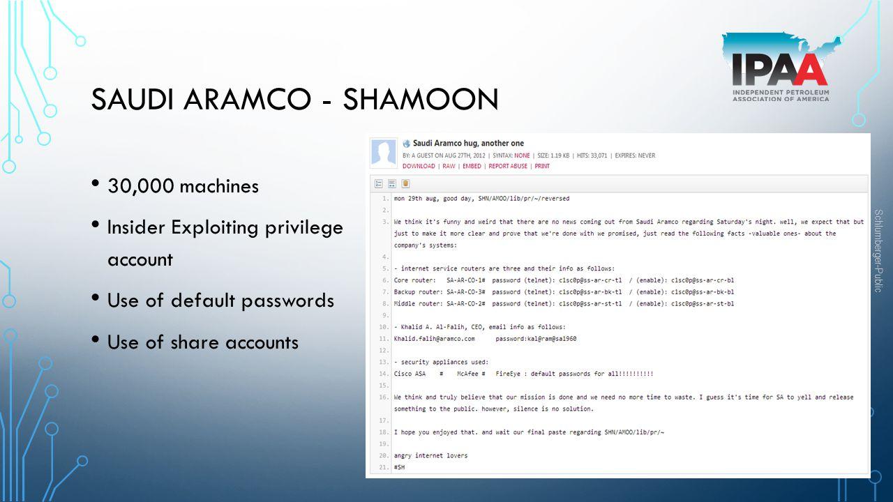 Saudi Aramco - Shamoon 30,000 machines
