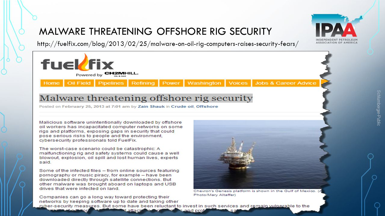 Malware threatening offshore rig security