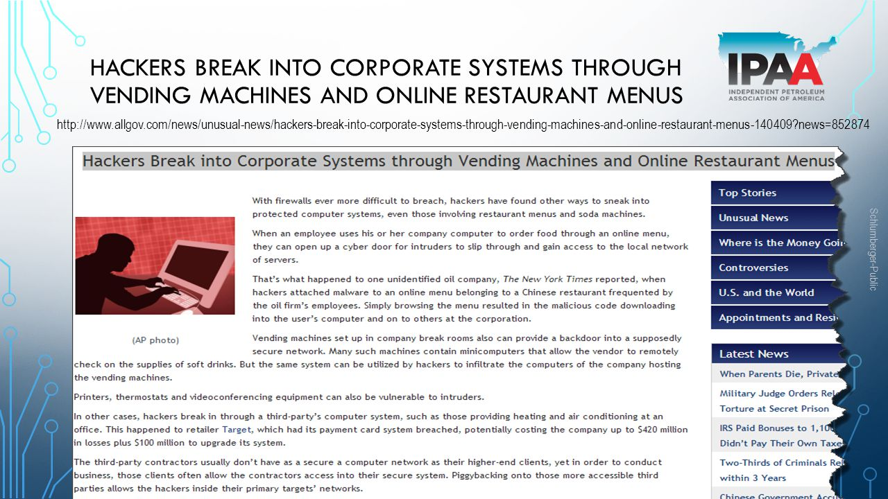 Hackers Break into Corporate Systems through Vending Machines and Online Restaurant Menus