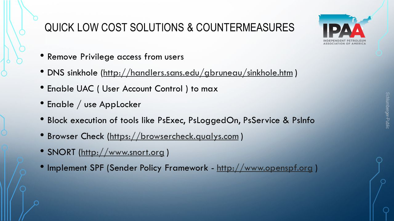 Quick low cost solutions & Countermeasures