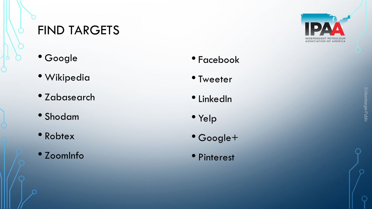 Find Targets Google Facebook Wikipedia Tweeter Zabasearch LinkedIn