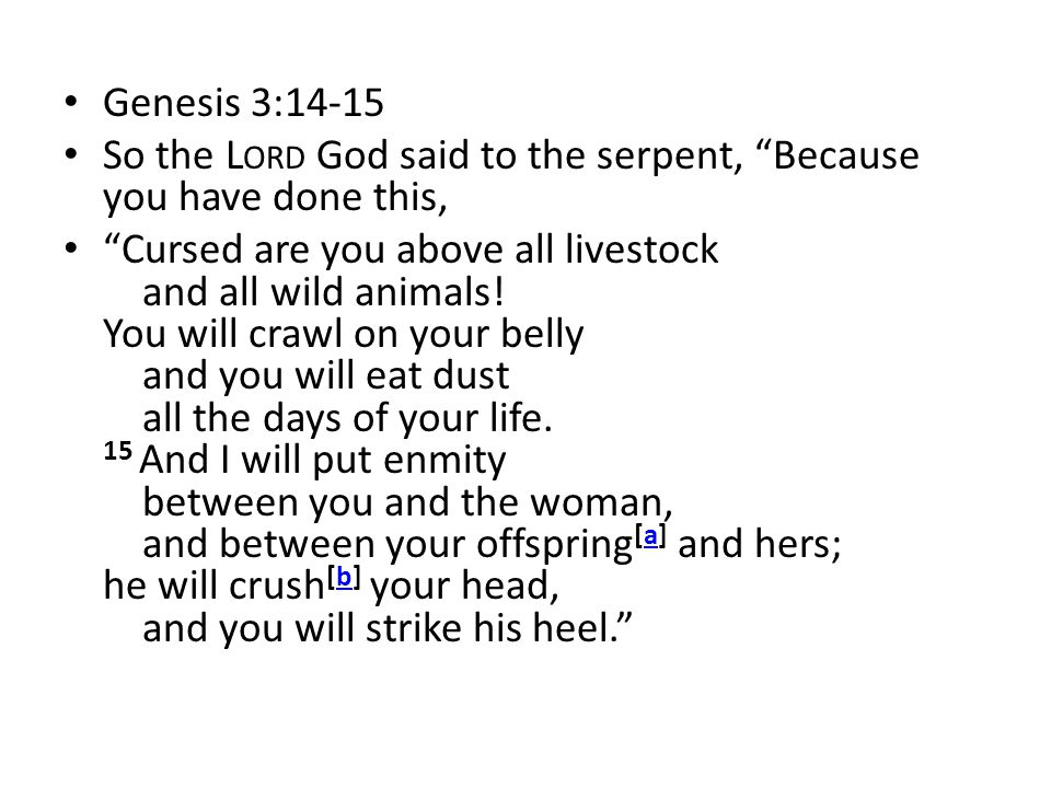 Genesis 3:14-15 So the Lord God said to the serpent, Because you have done this,