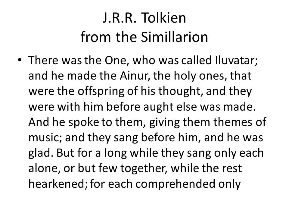 J.R.R. Tolkien from the Simillarion