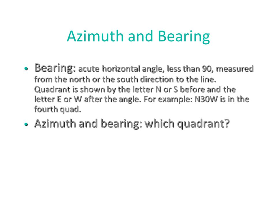 Azimuth and Bearing