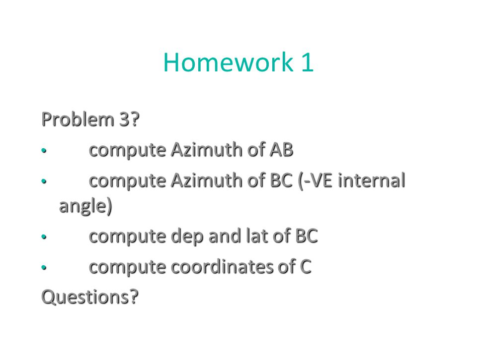 Homework 1 Problem 3 compute Azimuth of AB