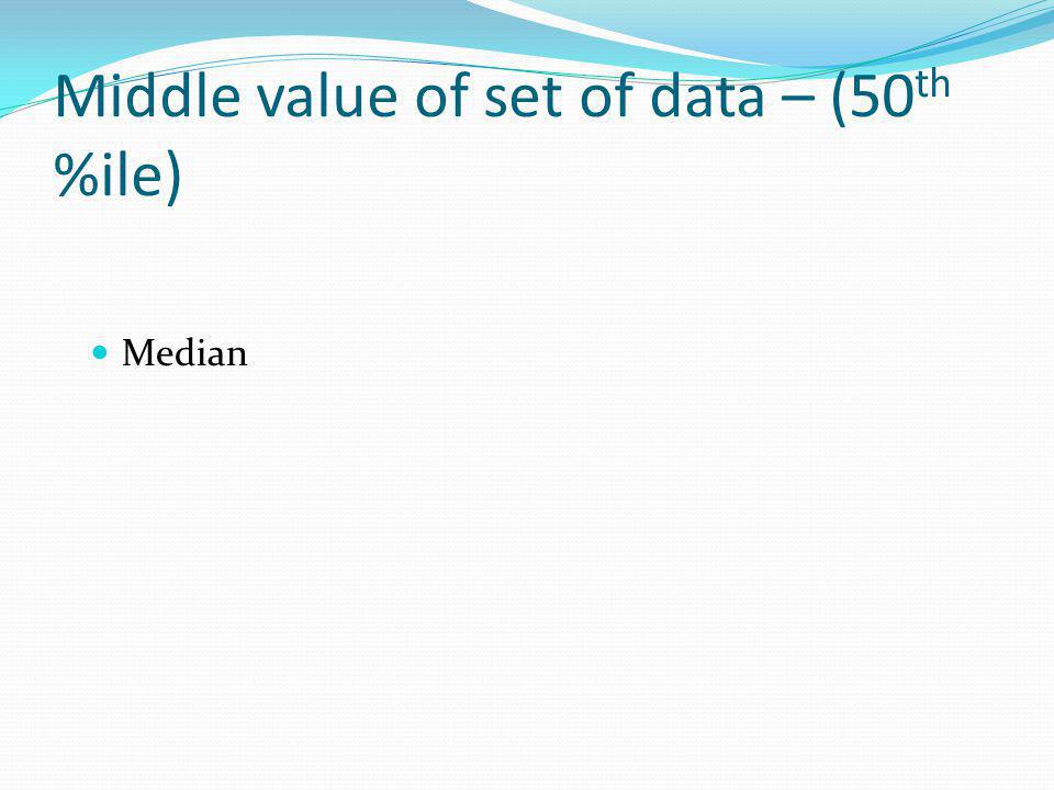 Middle value of set of data – (50th %ile)