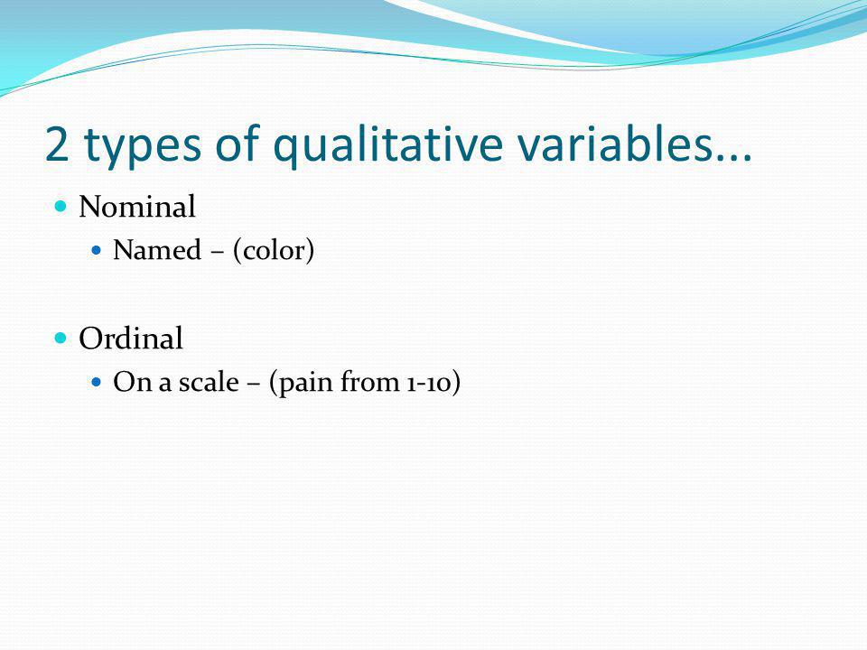 2 types of qualitative variables...