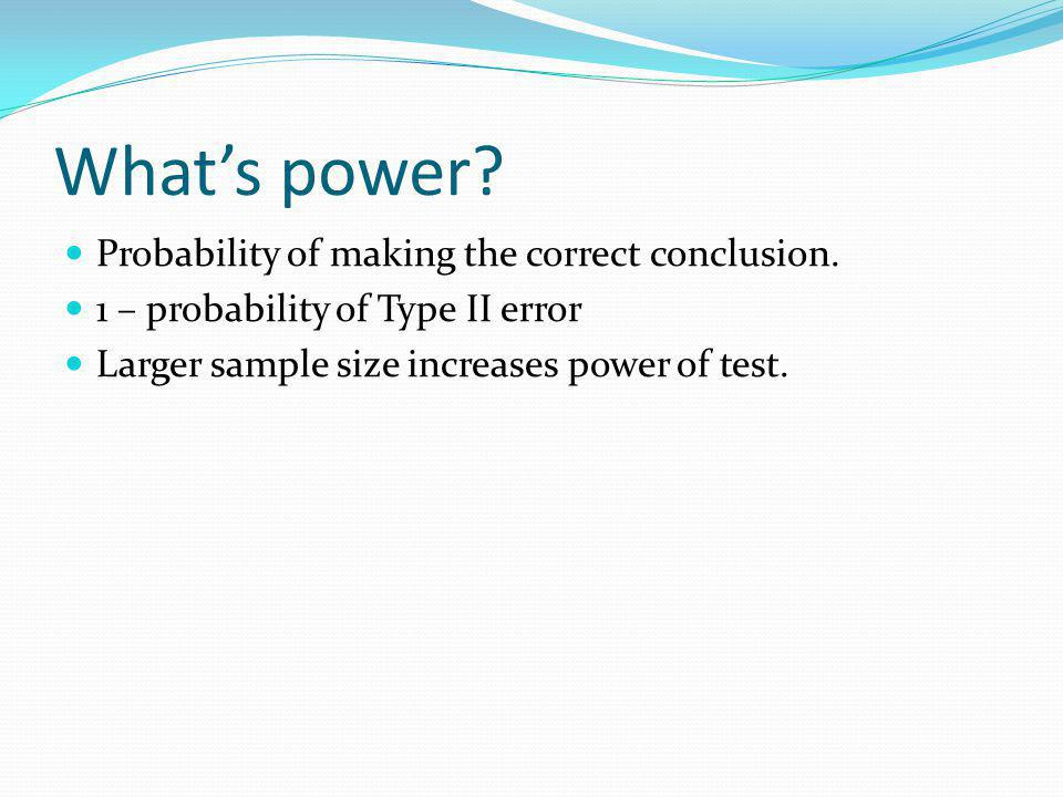 What's power Probability of making the correct conclusion.