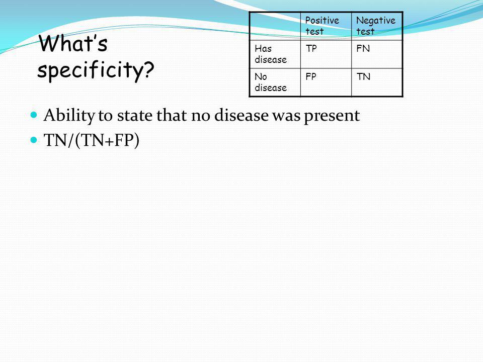 What's specificity Ability to state that no disease was present