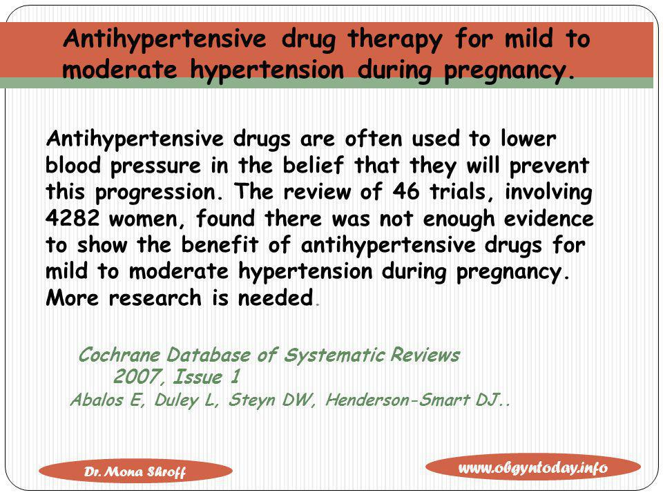 Antihypertensive drug therapy for mild to moderate hypertension during pregnancy.