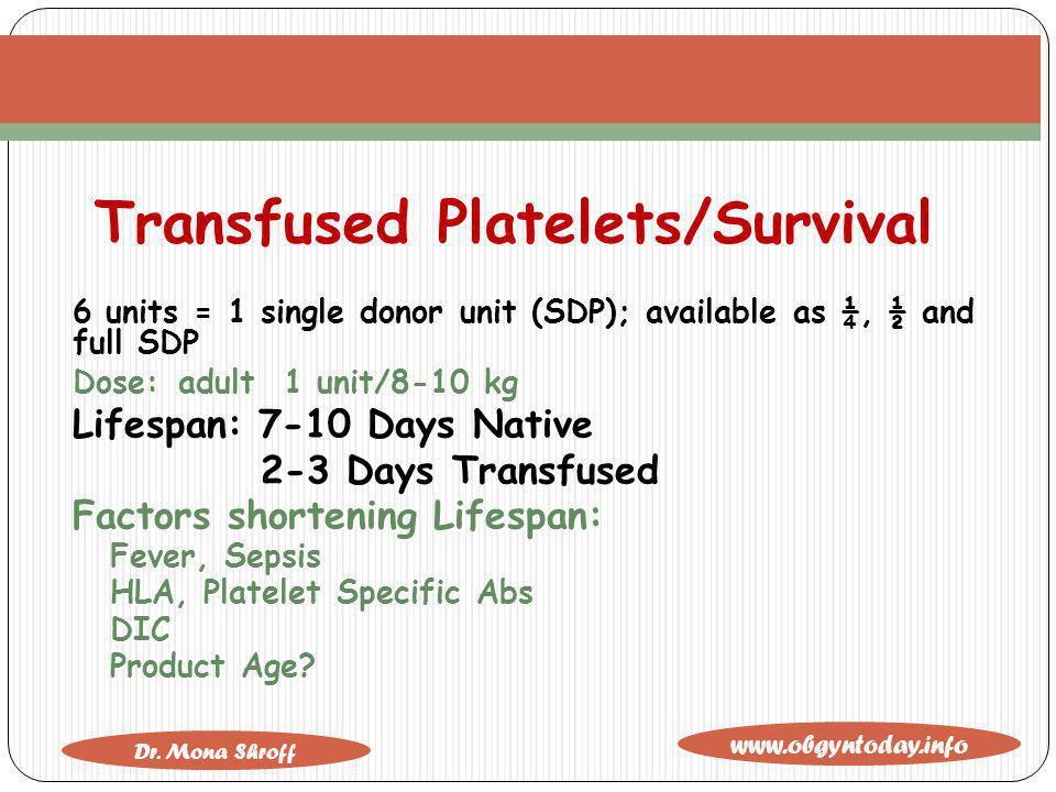 Transfused Platelets/Survival