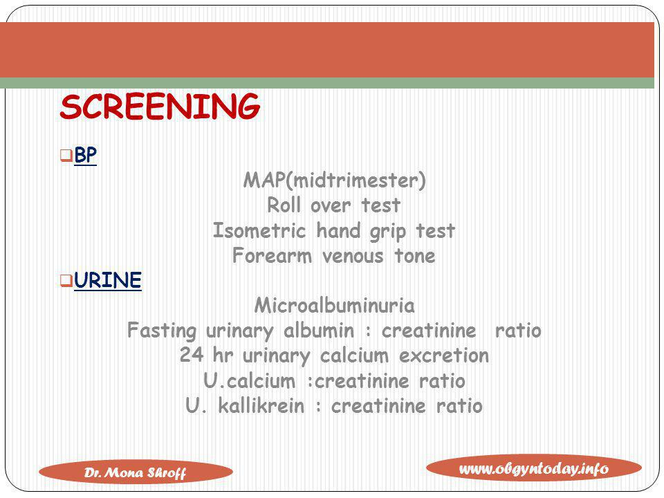 SCREENING BP MAP(midtrimester) Roll over test Isometric hand grip test
