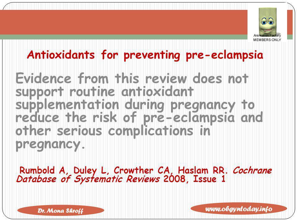 Antioxidants for preventing pre-eclampsia