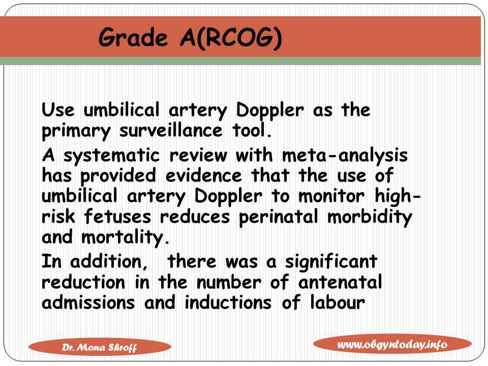 Grade A(RCOG) Use umbilical artery Doppler as the primary surveillance tool.