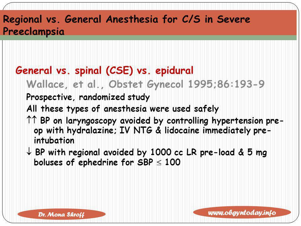Regional vs. General Anesthesia for C/S in Severe Preeclampsia