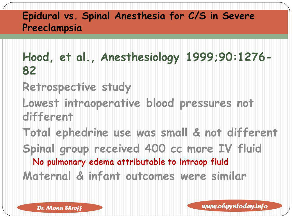 Epidural vs. Spinal Anesthesia for C/S in Severe Preeclampsia