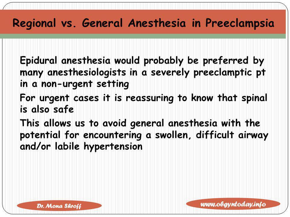 Regional vs. General Anesthesia in Preeclampsia