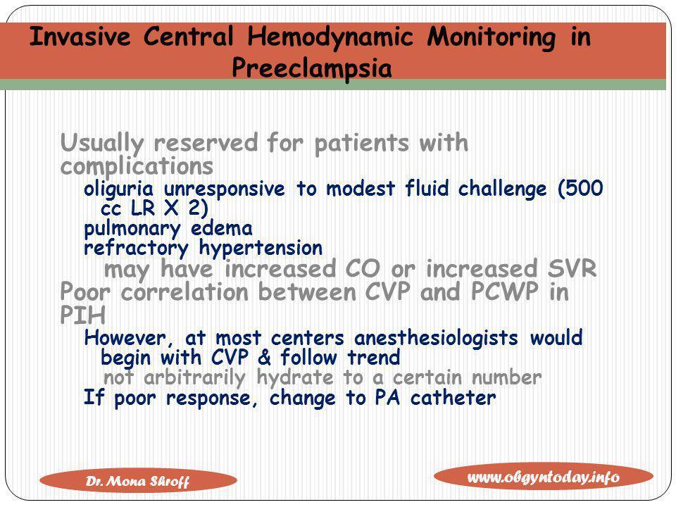 Invasive Central Hemodynamic Monitoring in Preeclampsia