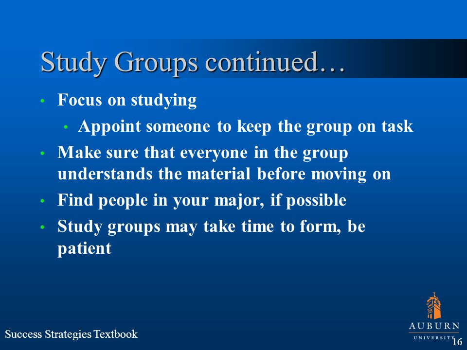Study Groups continued…