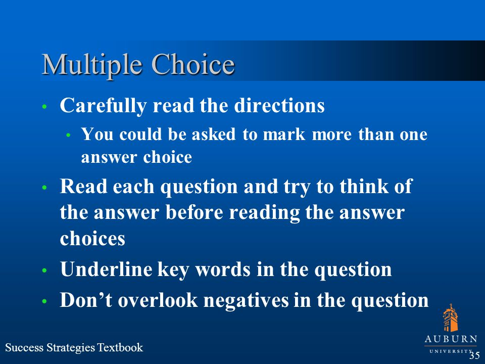 Multiple Choice Carefully read the directions