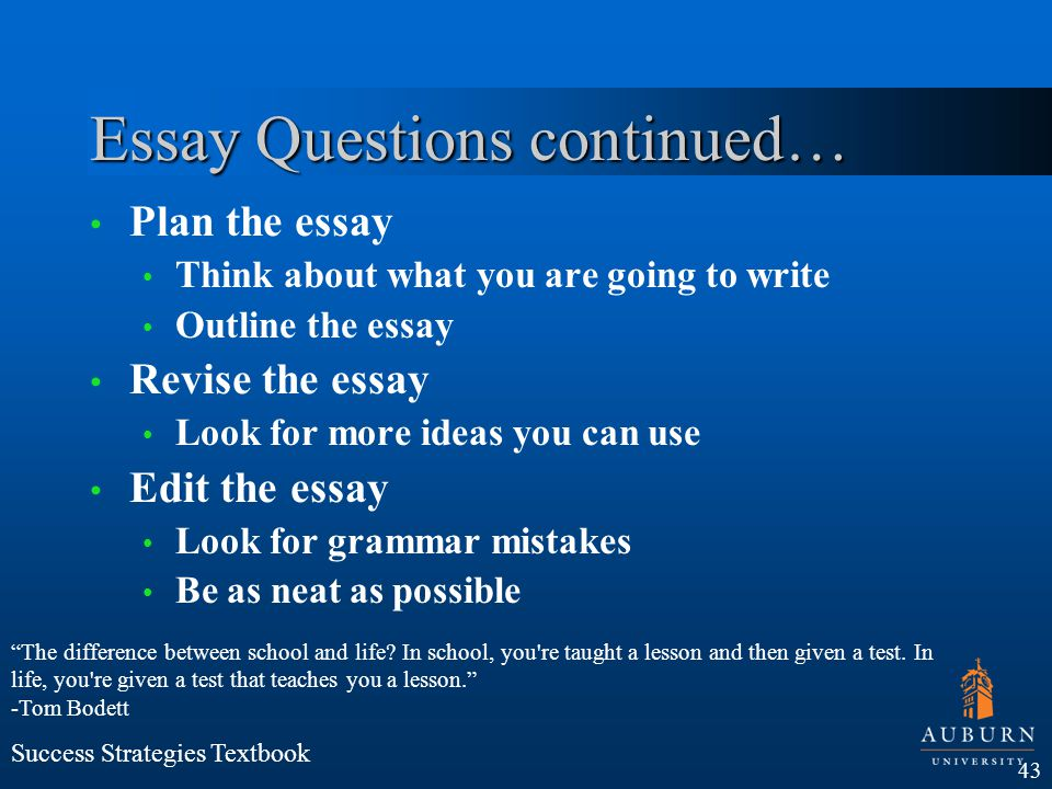 Essay Questions continued…