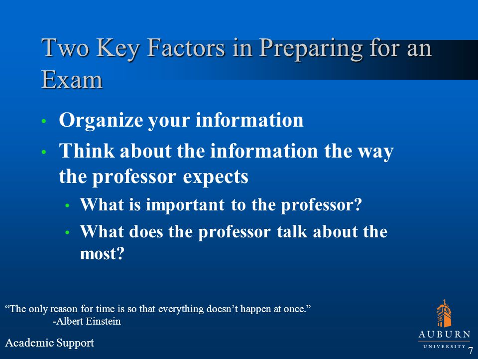 Two Key Factors in Preparing for an Exam