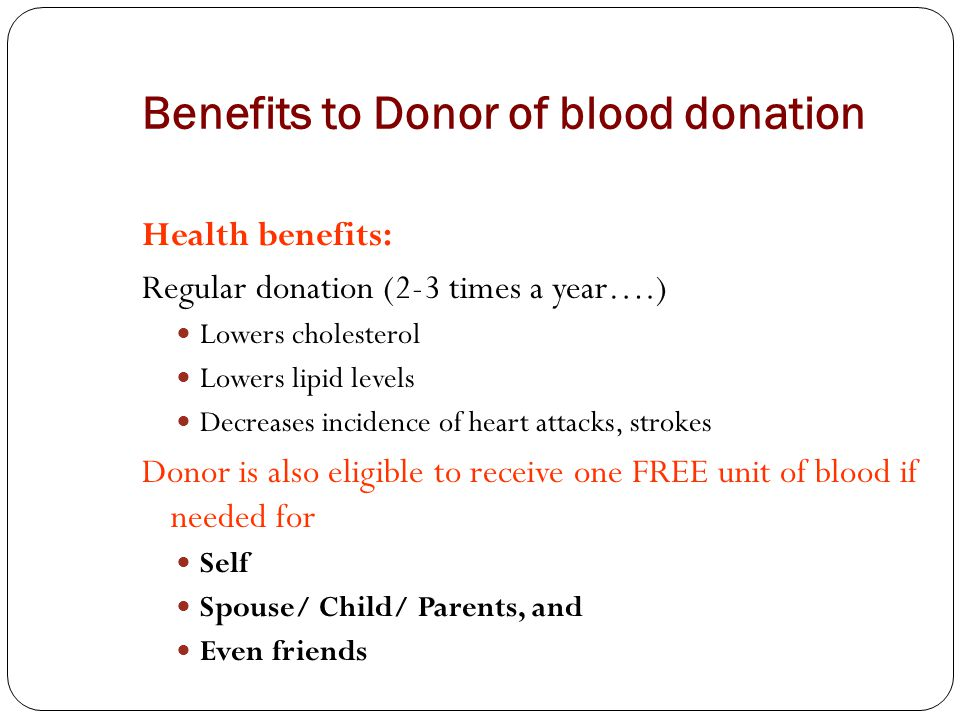 Benefits to Donor of blood donation