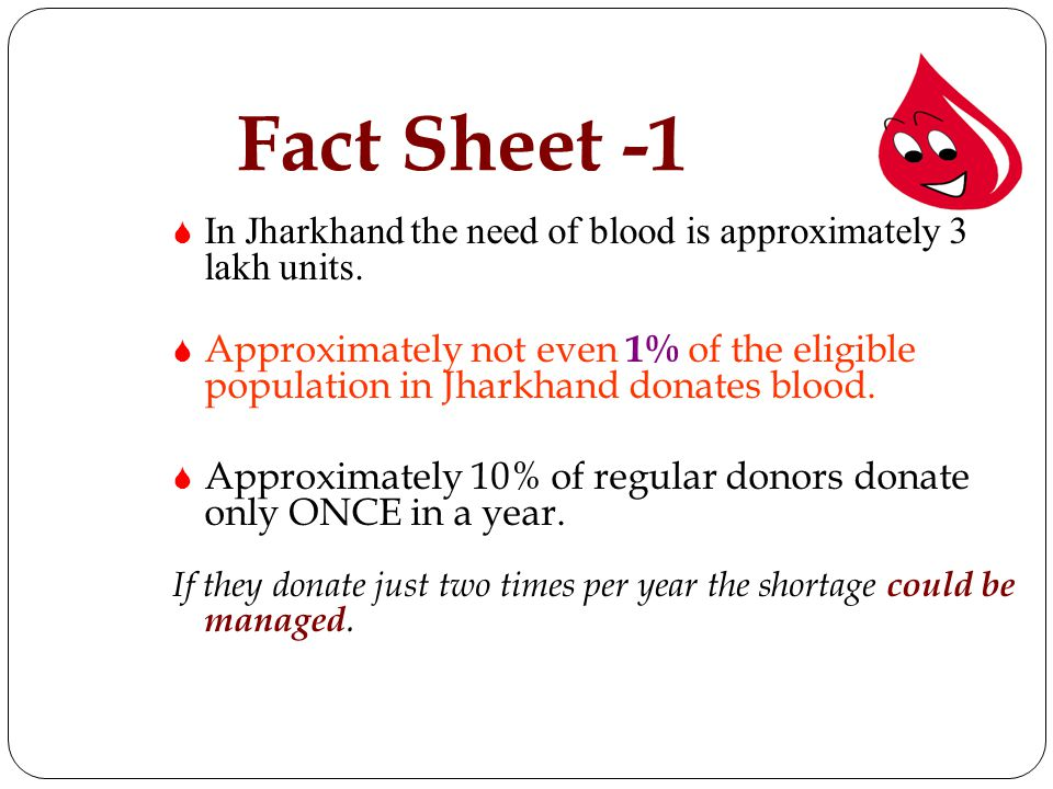 Fact Sheet -1 In Jharkhand the need of blood is approximately 3 lakh units.