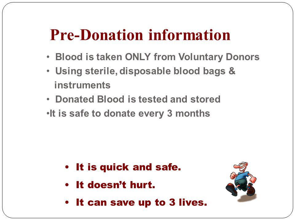 Pre-Donation information