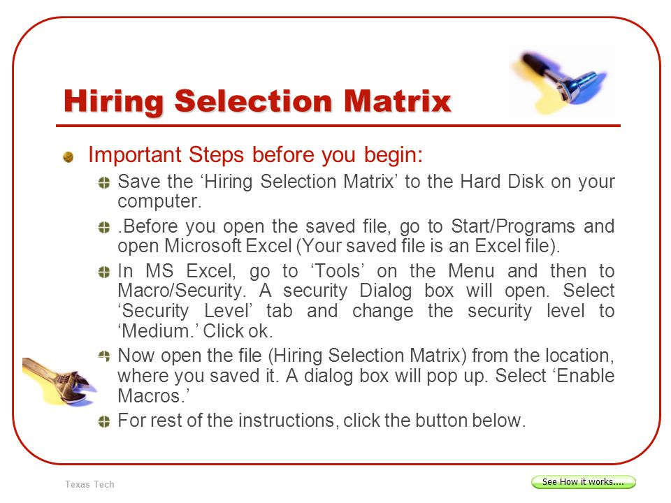 Hiring Selection Matrix