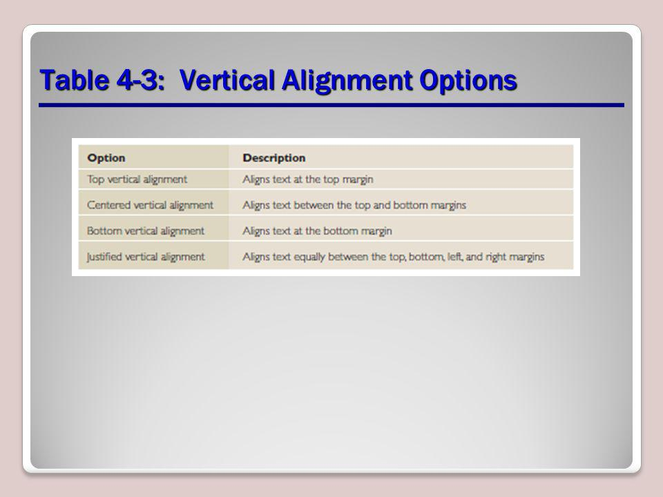 Table 4-3: Vertical Alignment Options