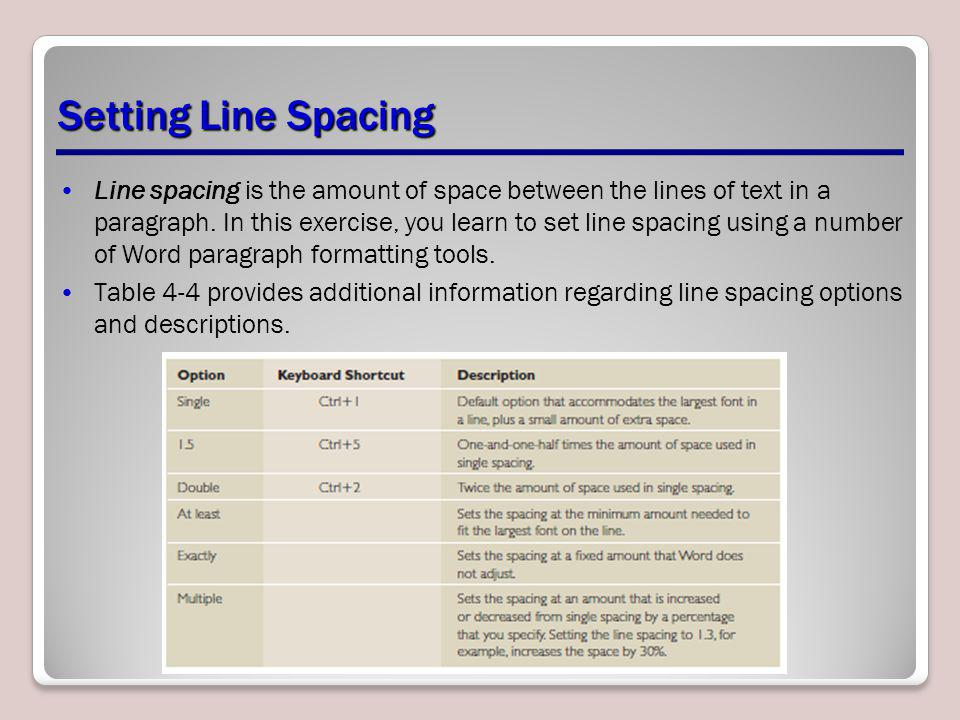 Setting Line Spacing