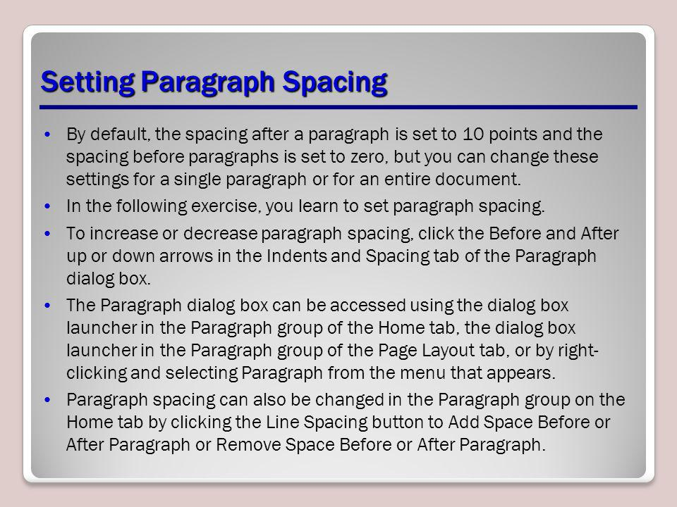 Setting Paragraph Spacing