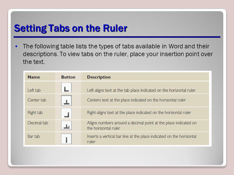 Setting Tabs on the Ruler