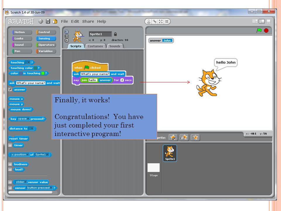 Finally, it works! Congratulations! You have just completed your first interactive program!