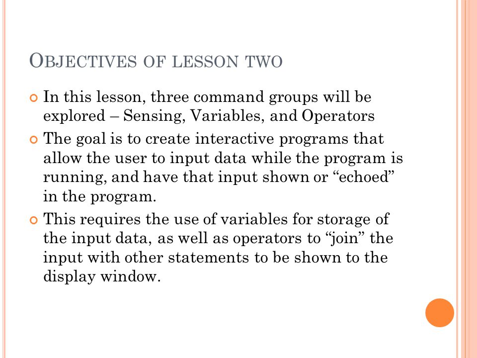 Objectives of lesson two