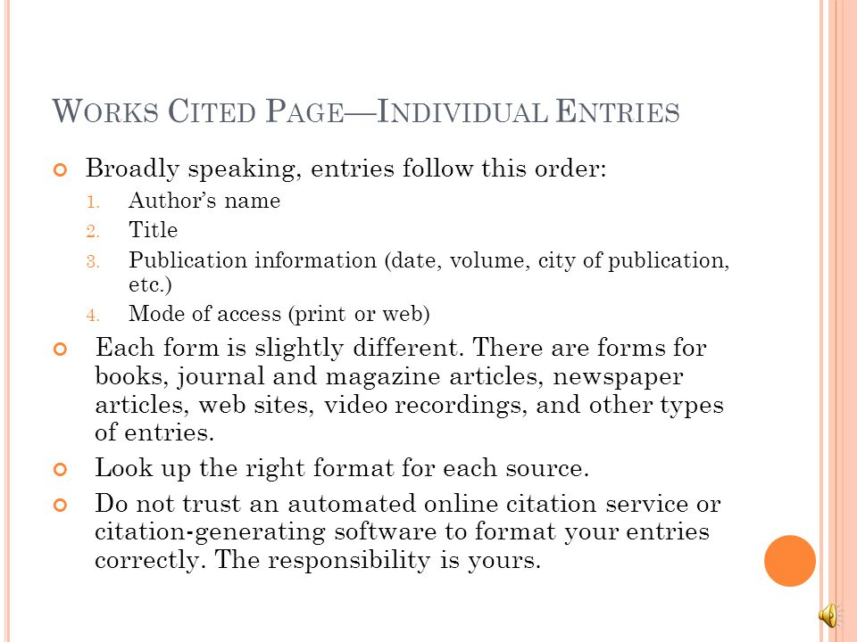 basic formatting works cited page formatting