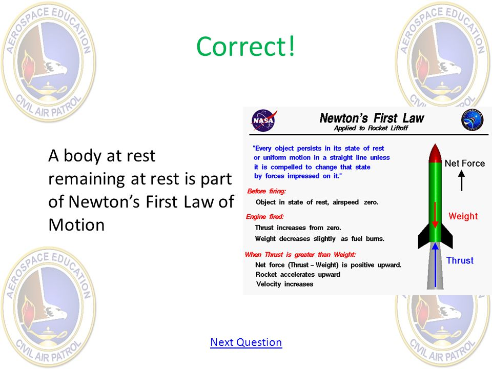 Correct! A body at rest remaining at rest is part of Newton's First Law of Motion Next Question