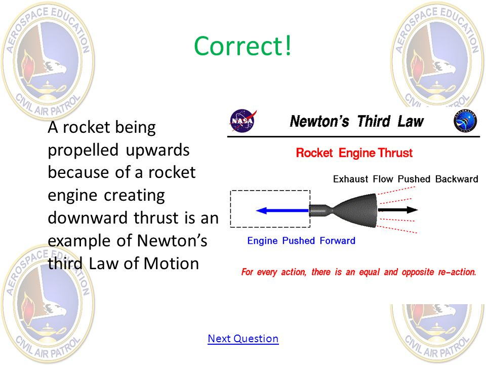 Correct! A rocket being propelled upwards because of a rocket engine creating downward thrust is an example of Newton's third Law of Motion.