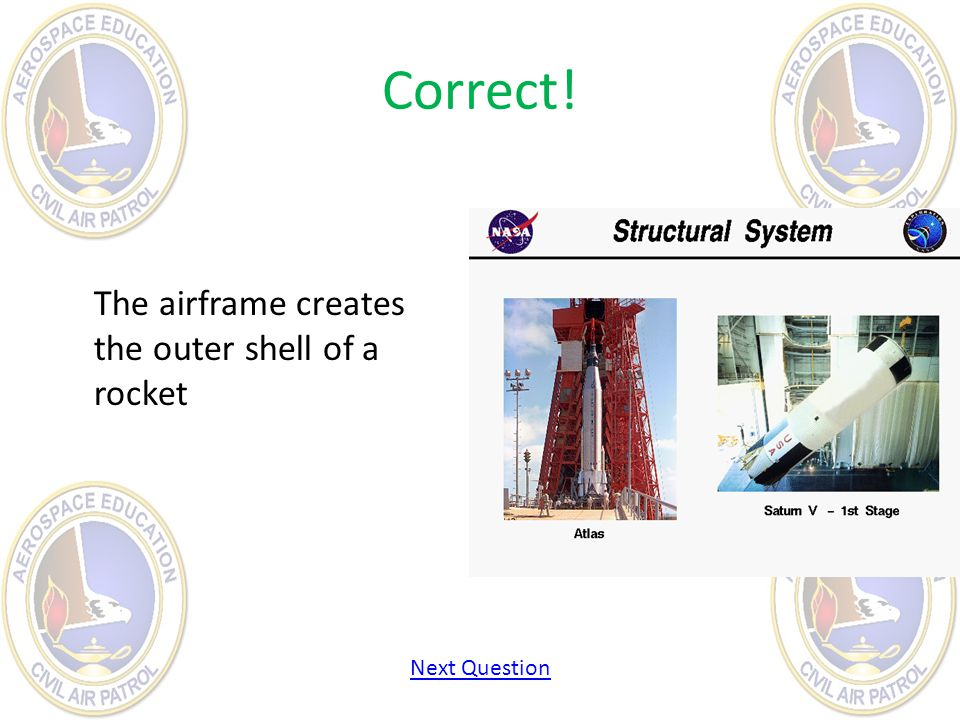Correct! The airframe creates the outer shell of a rocket