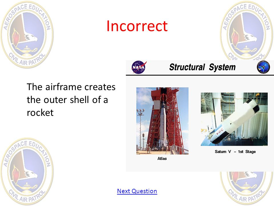 Incorrect The airframe creates the outer shell of a rocket