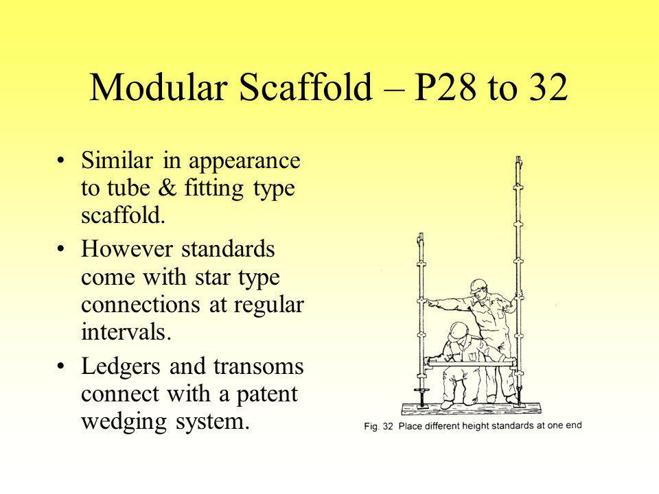 Modular Scaffold – P28 to 32 Similar in appearance to tube & fitting type scaffold.