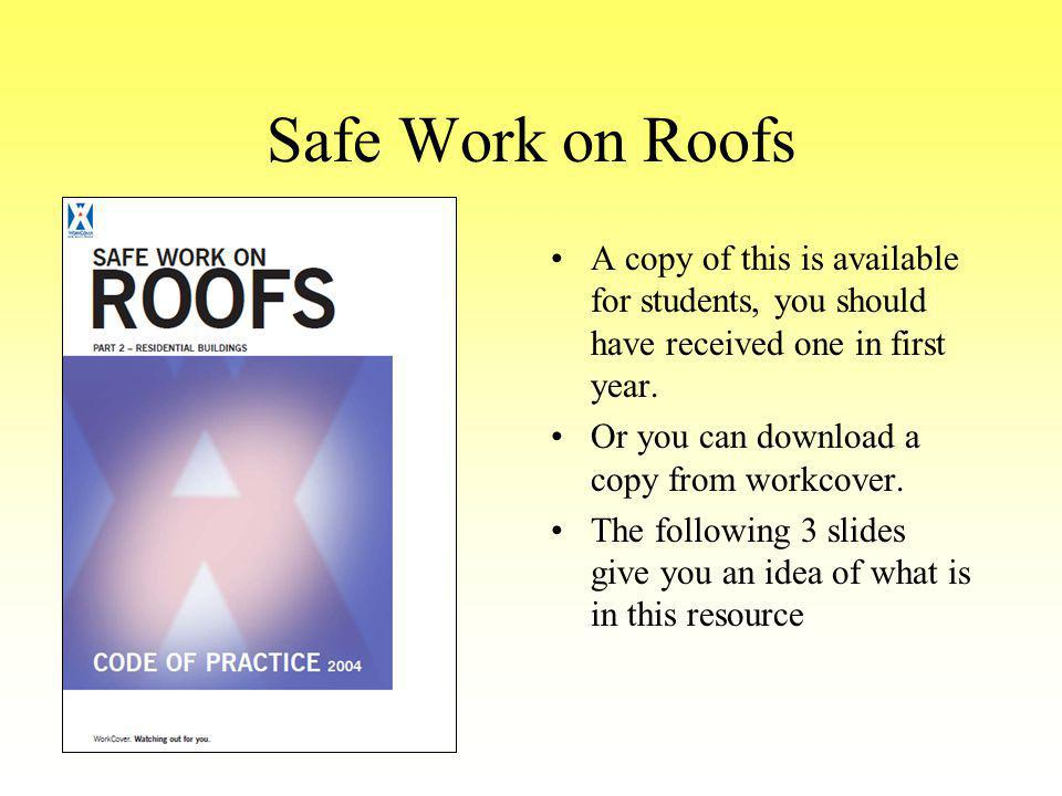 Safe Work on Roofs A copy of this is available for students, you should have received one in first year.