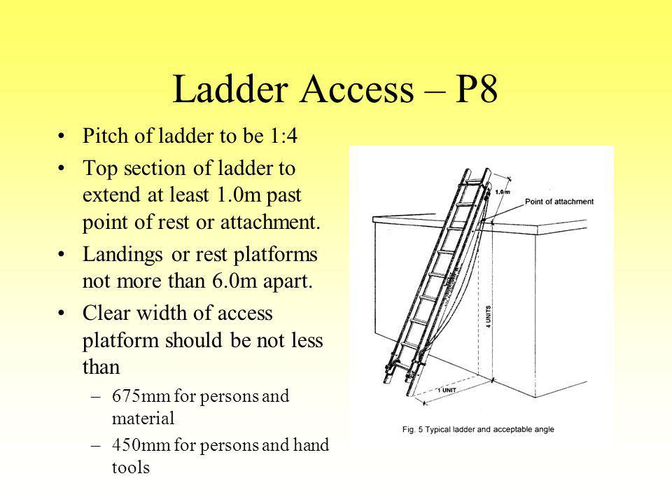 Ladder Access – P8 Pitch of ladder to be 1:4