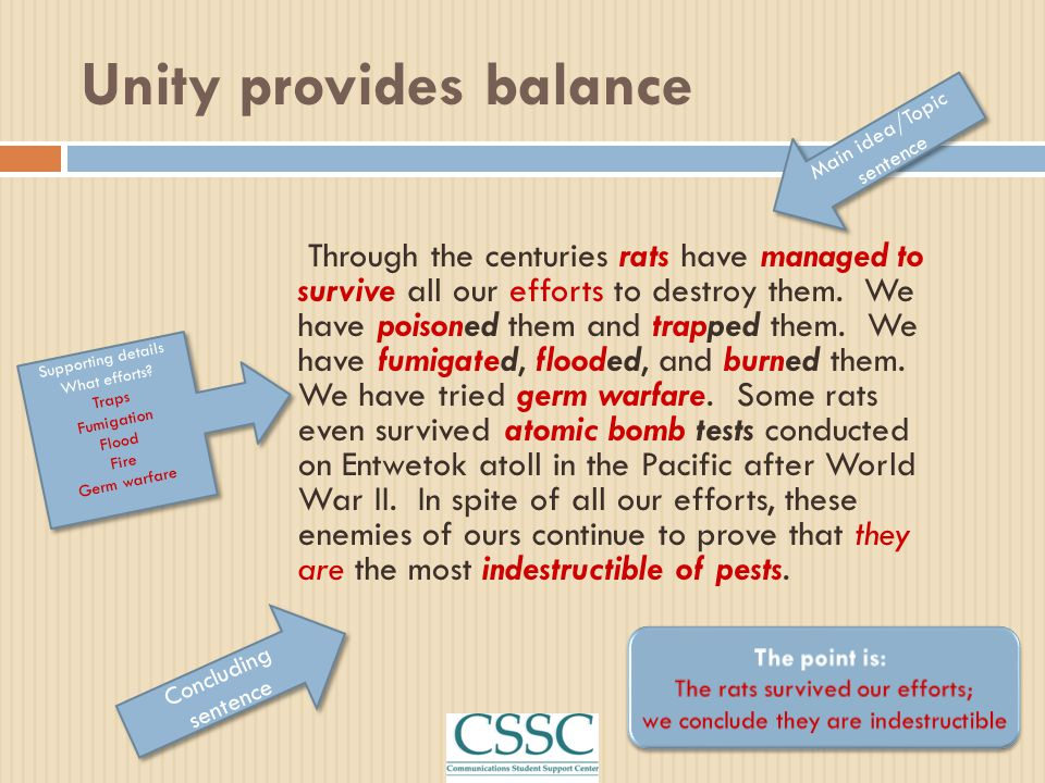 Unity provides balance